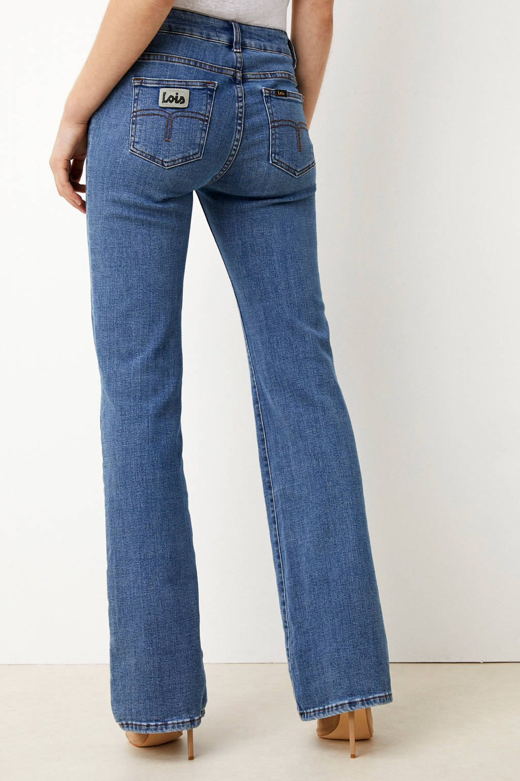 Lois high waist flared jeans donkerblauw, Donkerblauw