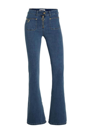 high waist flared jeans donkerblauw