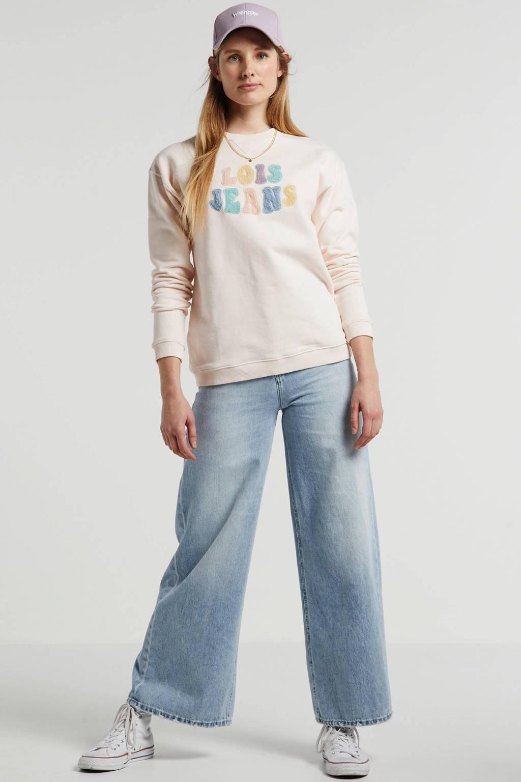 Lois sweater met logo lichtroze, Lichtroze