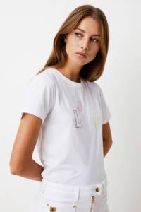 Lois T-shirt met logo wit, Wit