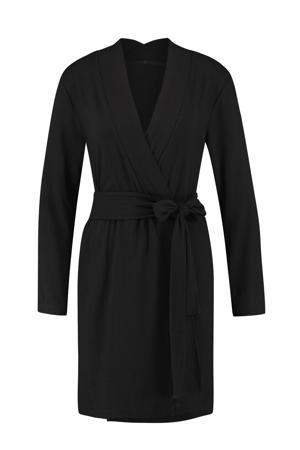 ribgebreide badjas zwart