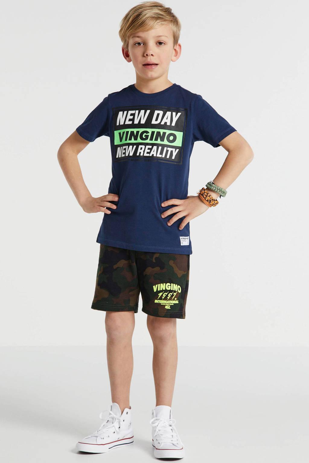 Vingino T-shirt Hoite met printopdruk donkerblauw/zwart/groen