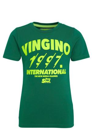 T-shirt Hezzi met logo groen/geel