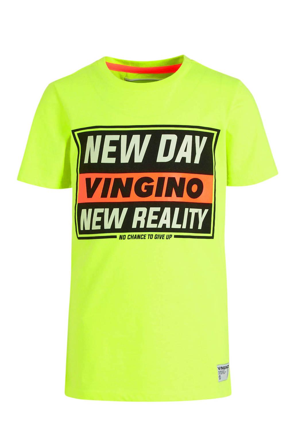 Vingino T-shirt Hoite met printopdruk neon geel/zwart/oranje, Neon geel/zwart/oranje