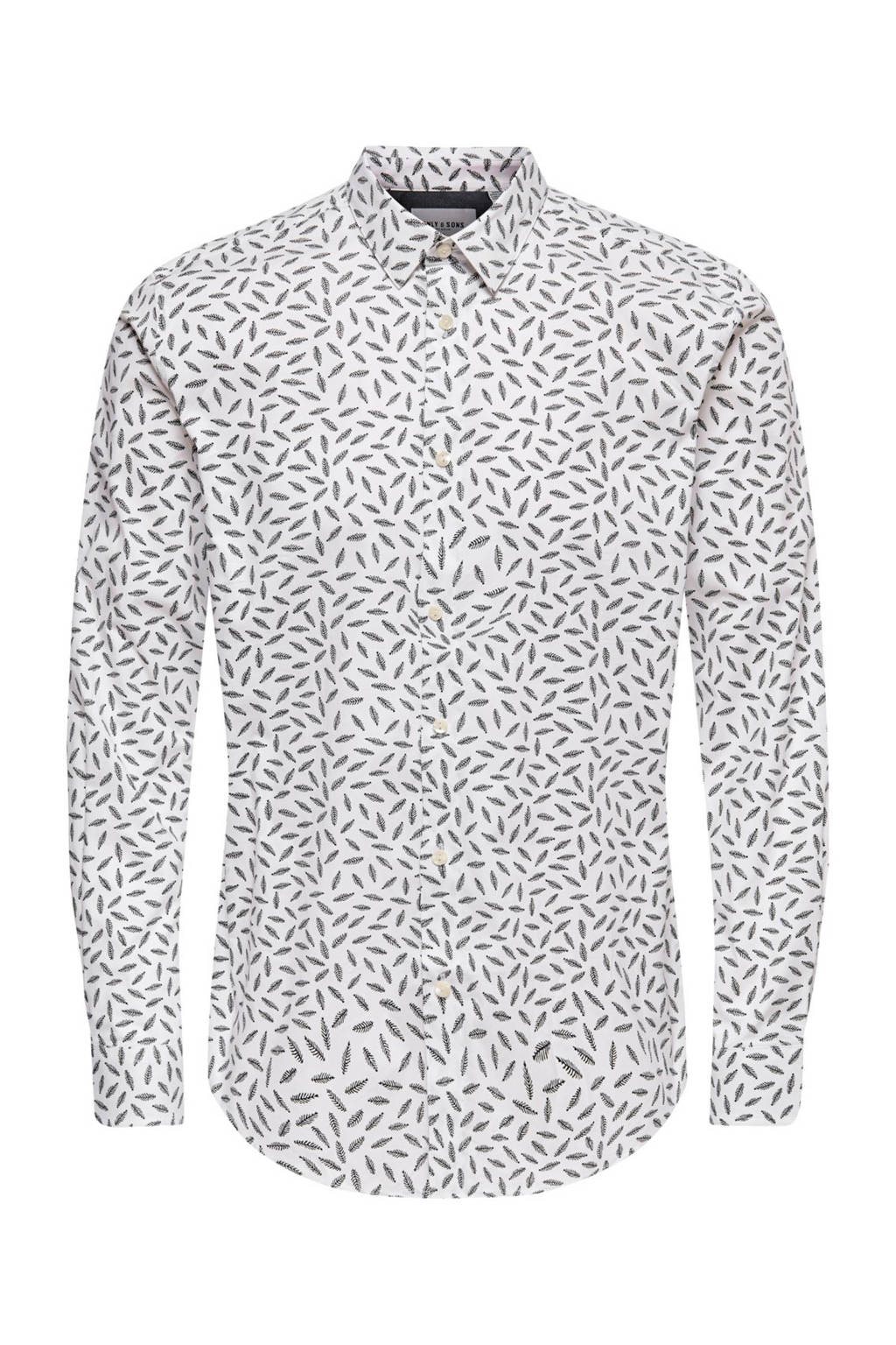 ONLY & SONS regular fit overhemd met all over print wit, Wit