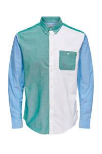 ONLY & SONS slim fit overhemd wit/groen/blauw, Wit/groen/blauw