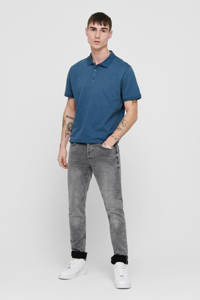 ONLY & SONS regular fit polo met stippen blauw, Blauw