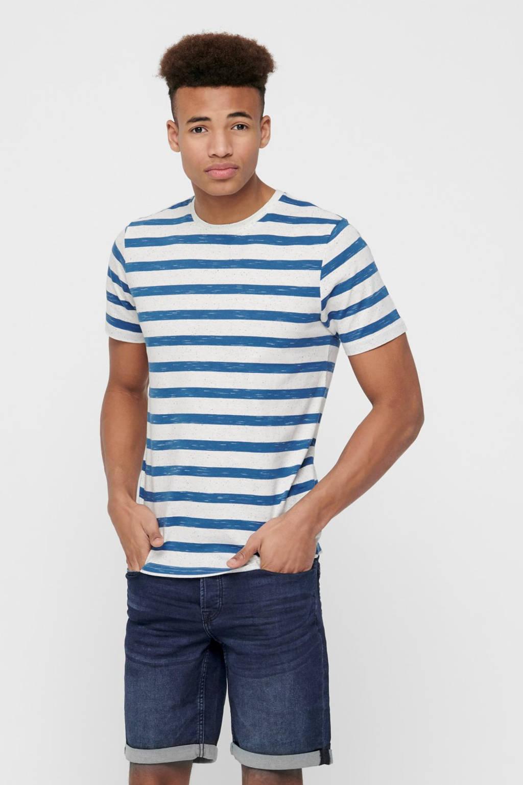 ONLY & SONS gestreept T-shirt dark blue, Dark Blue