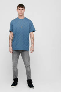 ONLY & SONS T-shirt met all over print donkerblauw, Donkerblauw