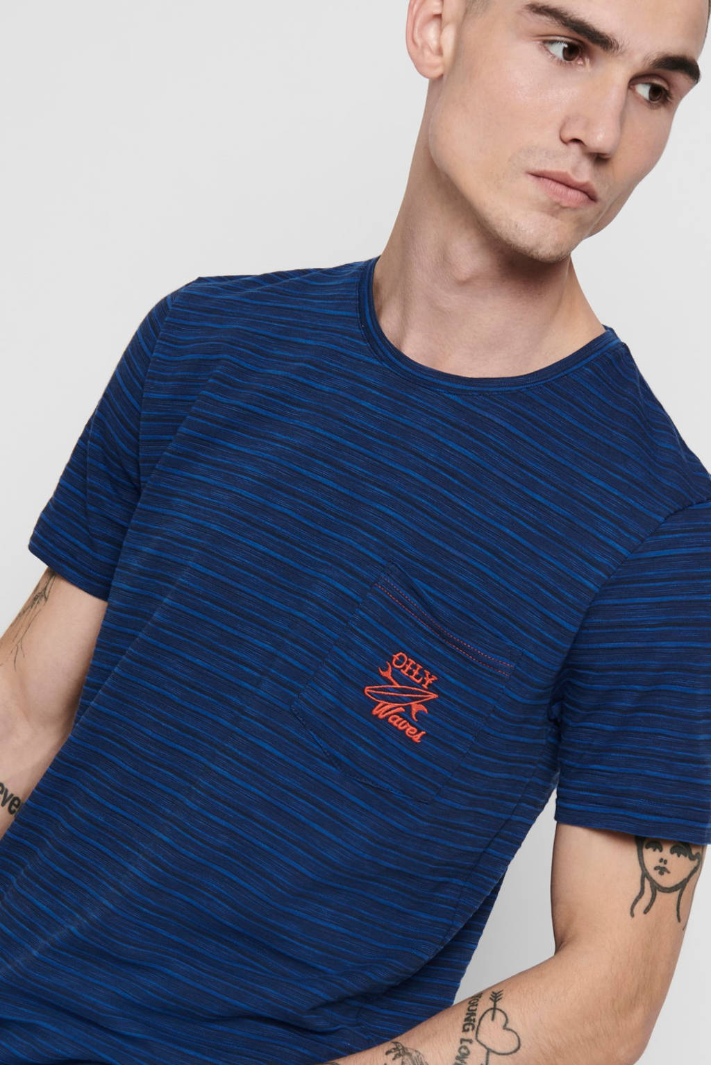 ONLY & SONS T-shirt met tekst donkerblauw, Donkerblauw