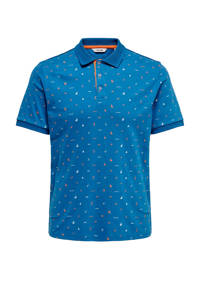 ONLY & SONS regular fit polo met all over print blauw, Blauw