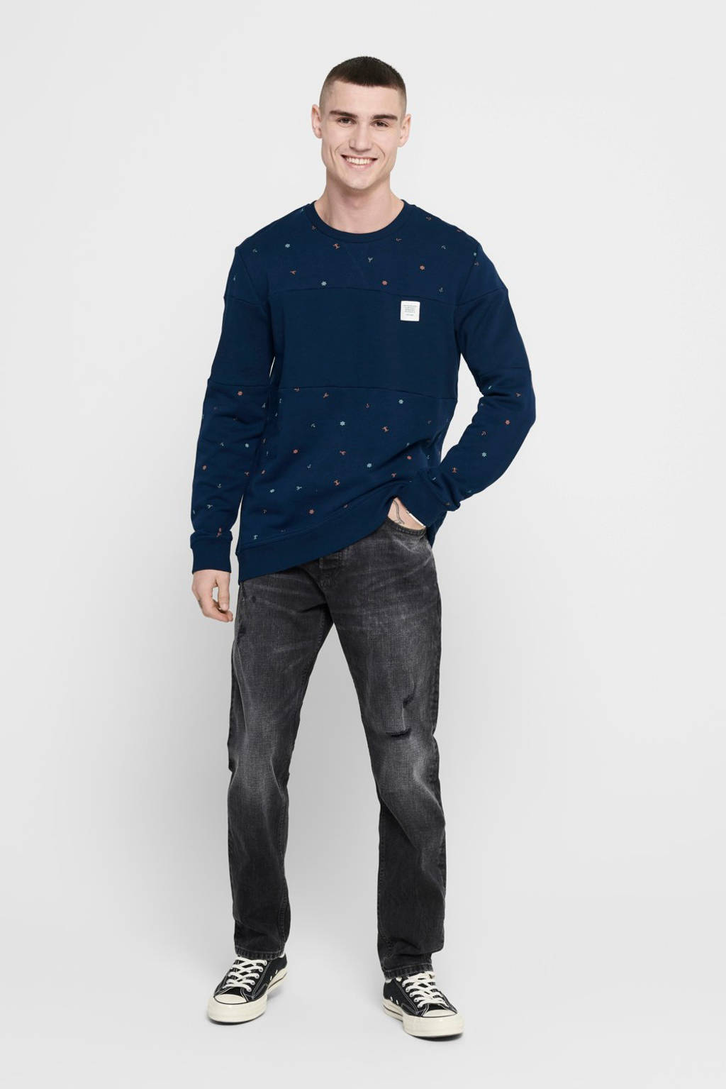 ONLY & SONS sweater met all over print donkerblauw, Donkerblauw
