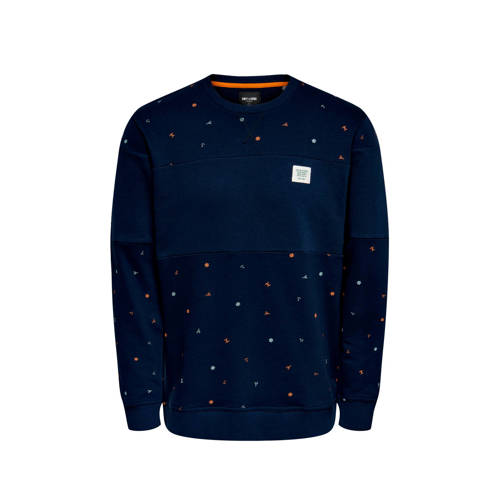ONLY & SONS sweater met all over print donkerb