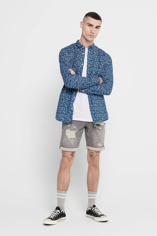 ONLY & SONS gebloemd slim fit overhemd blauw, Blauw