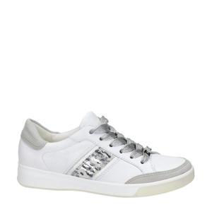 comfort leren veterschoenen wit/grijs