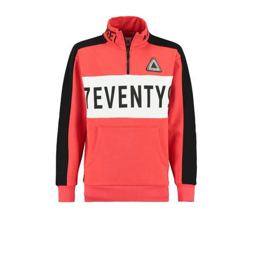 CoolCat Junior sweater met tekst rood/zwart/wit