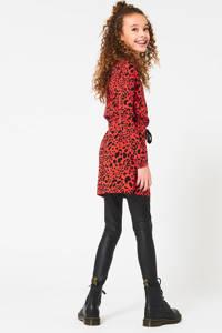 CoolCat Junior jersey jurk met all over print zwart/rood, Zwart/rood