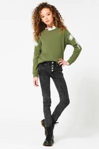 CoolCat Junior sweater Sarina met printopdruk army groen, Army groen