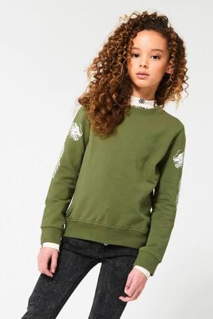 sweater Sarina met printopdruk army groen