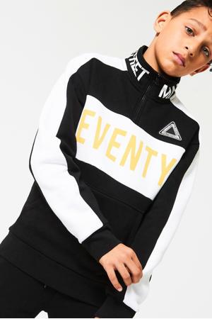 sweater met tekst zwart/wit/geel