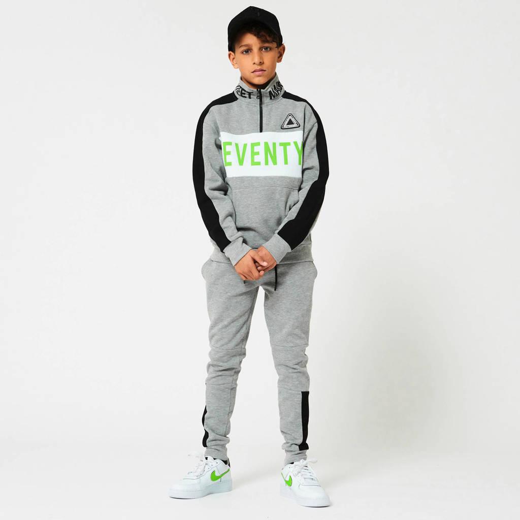 CoolCat Junior sweater met tekst grijs melange/wit/groen, Grijs melange/wit/groen