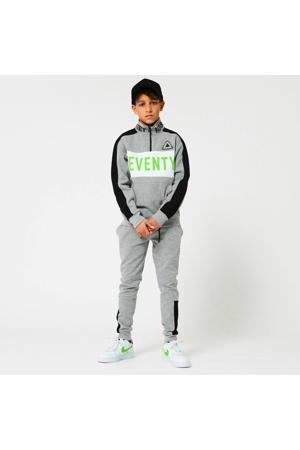sweater met tekst grijs melange/wit/groen