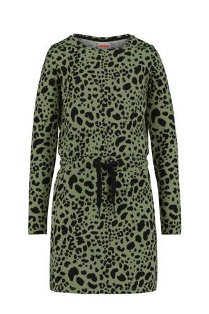 jersey jurk met all over print olijfgroen/zwart