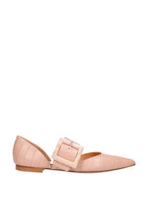 leren loafers crocoprint roze