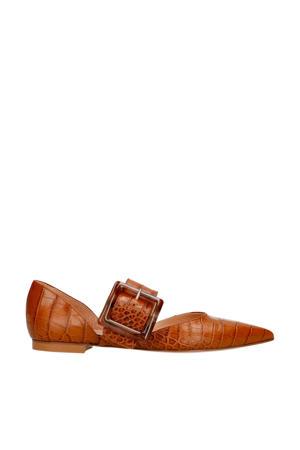 leren loafers crocoprint cognac