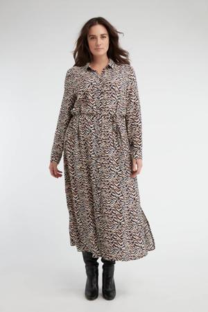 maxi blousejurk met dierenprint en ceintuur zwart/beige