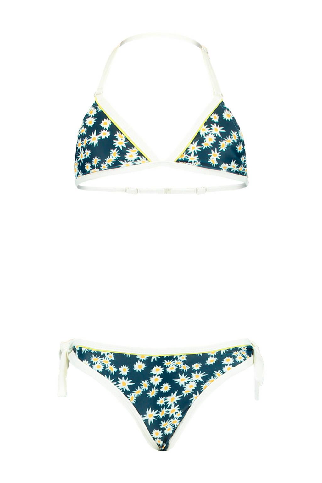 America Today Junior triangel bikini Luna met bloemen blauw, Blauw/geel/wit