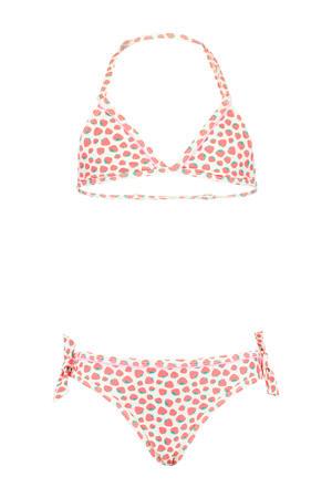 triangel bikini met all over print Luna wit/rood