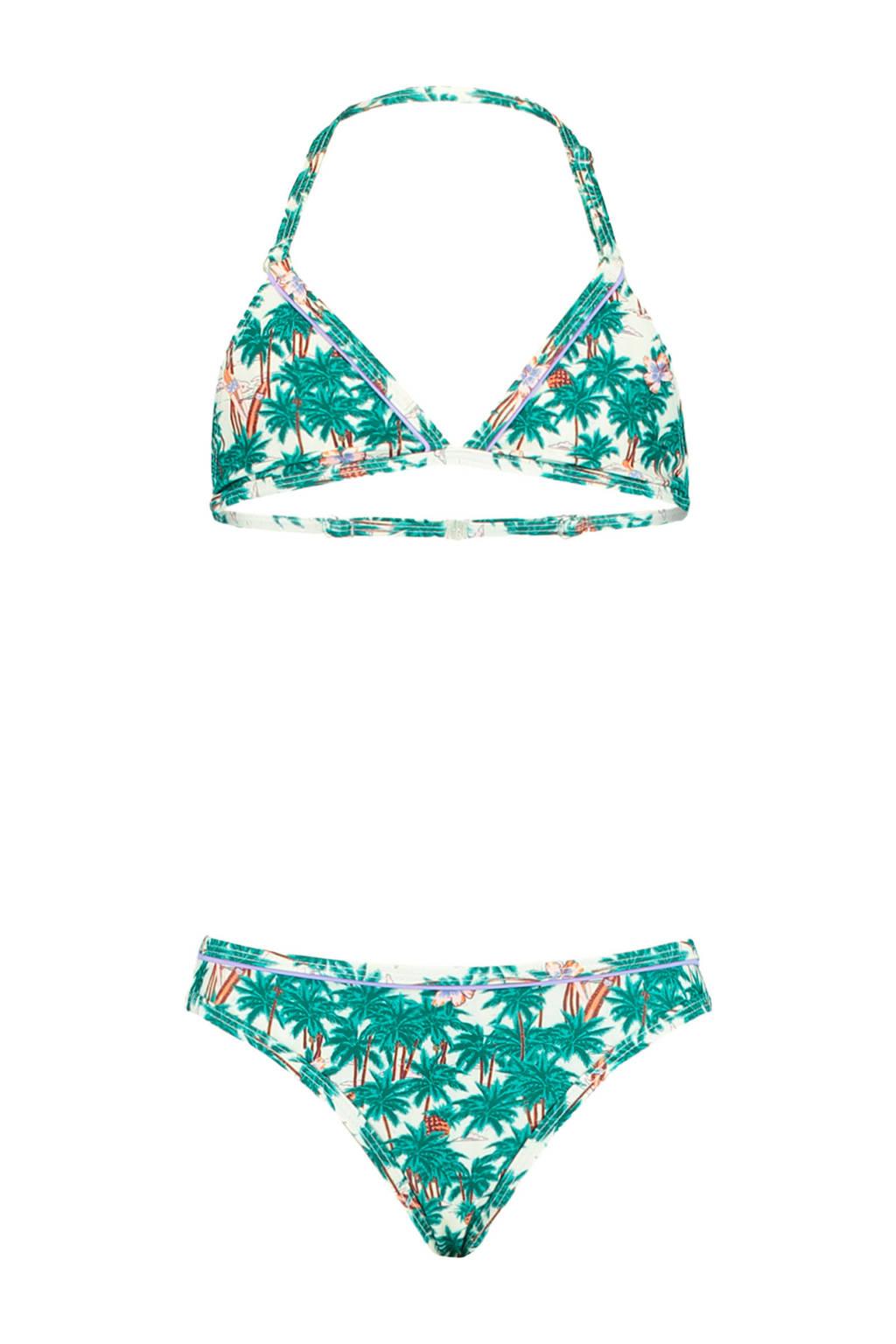 America Today Junior triangel bikini Luna met all over print groen/wit, Groen/wit