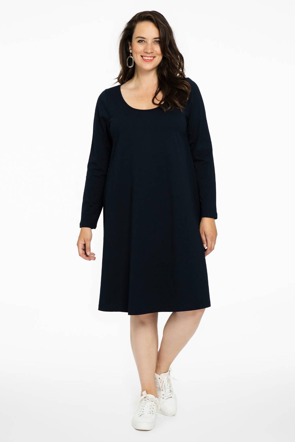 Yoek jersey jurk donkerblauw, Donkerblauw