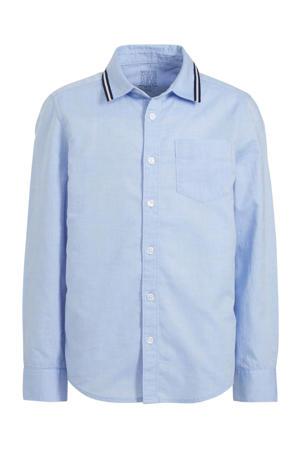 overhemd van biologisch katoen lichtblauw/donkerblauw/wit