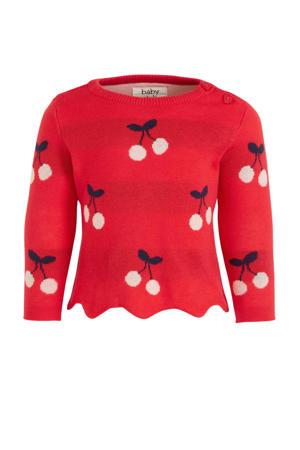 trui van biologisch katoen rood/zwart/lichtroze