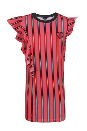 gestreepte jersey jurk roze/rood/zwart