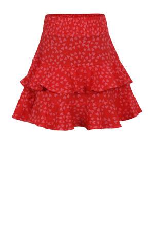 rok met all over print rood/zwart