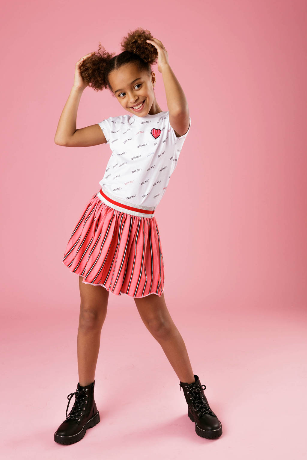 Little Miss Juliette gestreepte rok roze/zwart, Roze/zwart