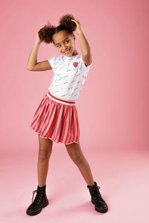 gestreepte rok roze/zwart