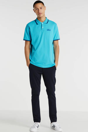 slim fit polo met logo tuquoise pool