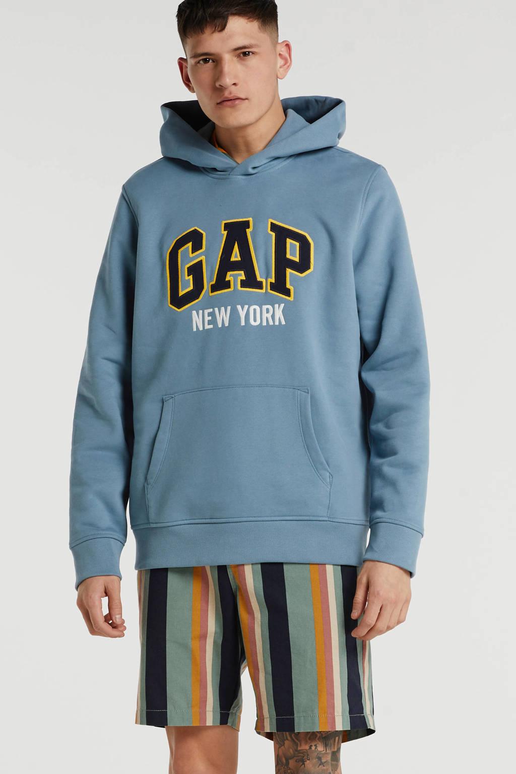 GAP hoodie met logo grijsblauw, Grijsblauw