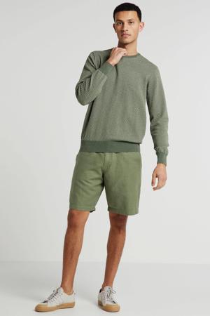 regular fit bermuda met linnen groen