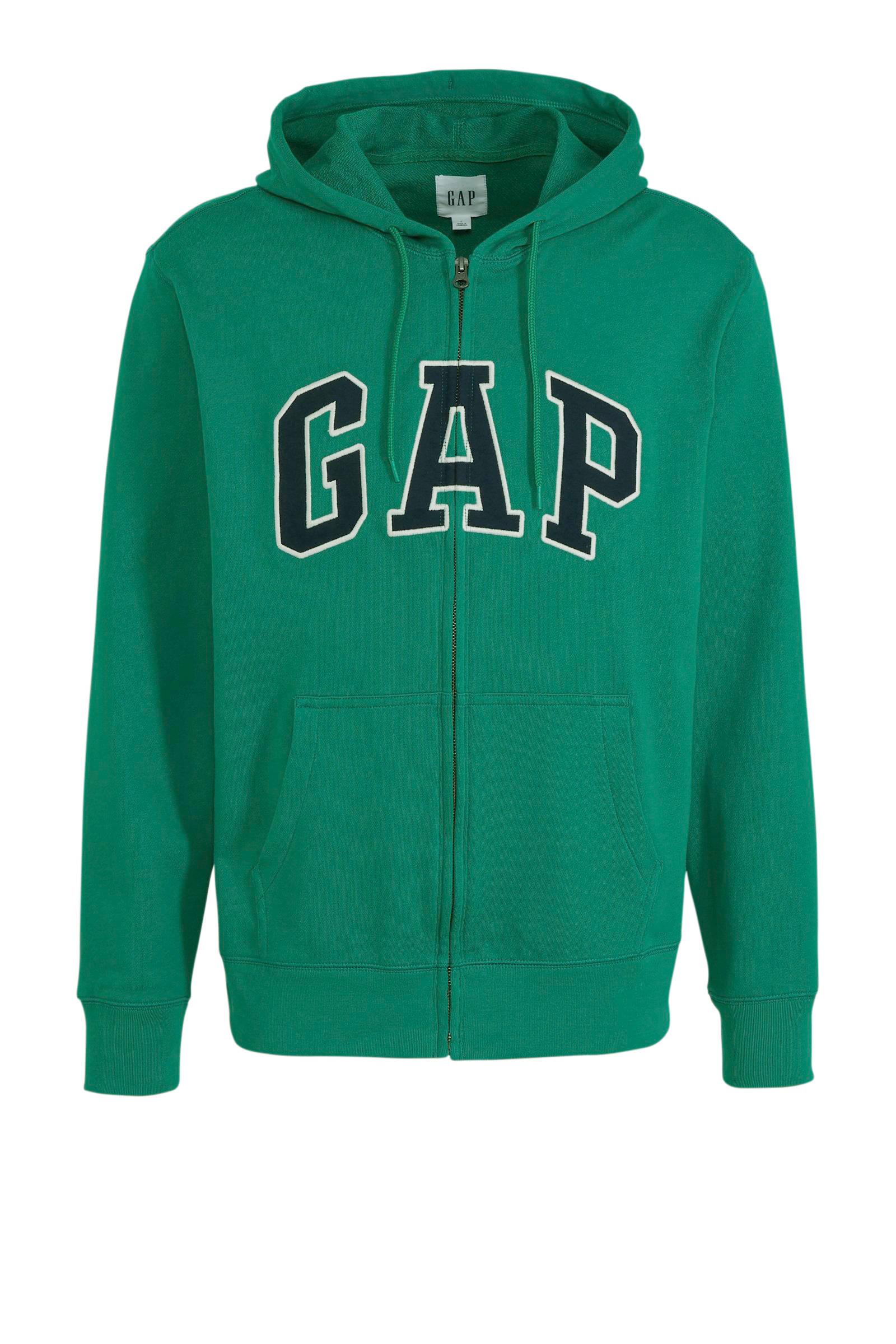 GAP hoodie met printopdruk grijs | wehkamp