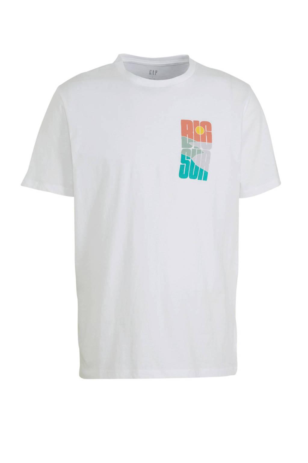 GAP T-shirt met printopdruk wit/blauw/oranje, Wit/blauw/oranje
