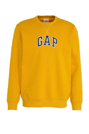 sweater met logo geel/zwart