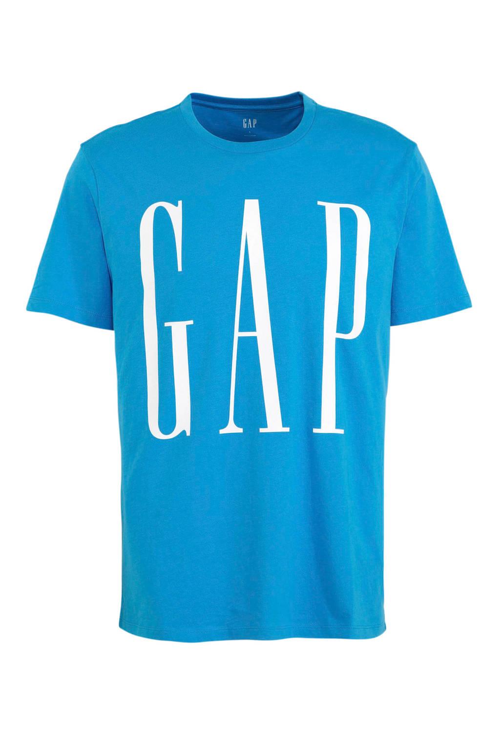 GAP T-shirt met tekst blauw/wit, Blauw/wit