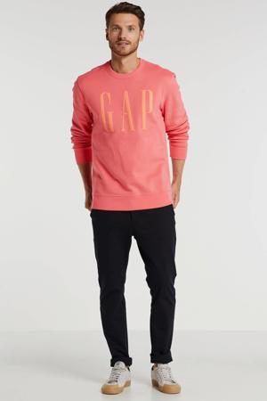 sweater met printopdruk koraalrood