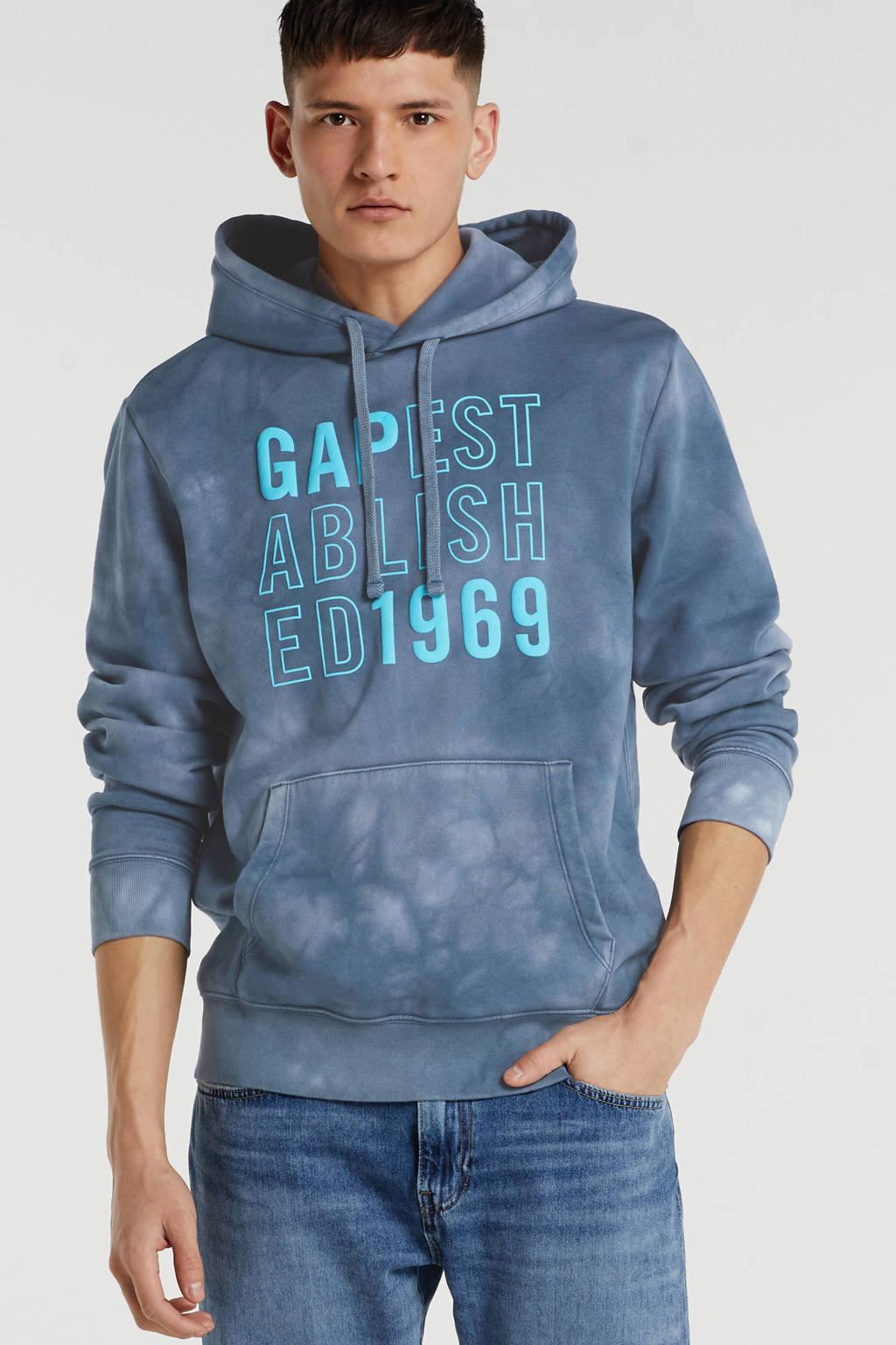 GAP hoodie met printopdruk grijsblauw/blauw, Grijsblauw/blauw