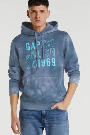 hoodie met printopdruk grijsblauw/blauw